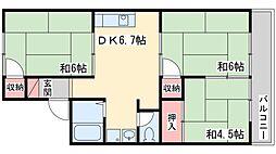 兵庫県加古川市平岡町一色西2丁目の賃貸アパートの間取り