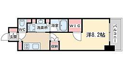 ザ・パークハビオ堂島 13階1Kの間取り