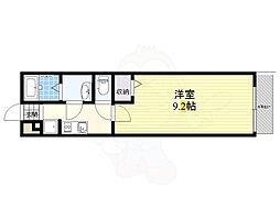 阪急京都本線 摂津市駅 徒歩4分の賃貸マンション 2階1Kの間取り