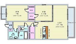 北大阪急行電鉄 桃山台駅 徒歩25分の賃貸マンション 1階2LDKの間取り