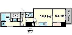 セレニテ本町reflet 15階1DKの間取り