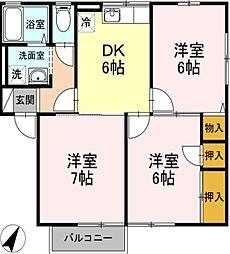 神奈川県小田原市飯田岡の賃貸アパートの間取り