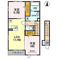 泉北高速鉄道 泉ヶ丘駅 徒歩20分の賃貸アパート 2階2LDKの間取り