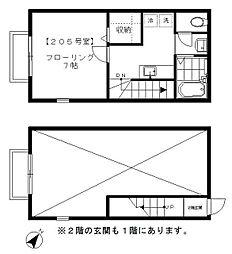 JR山手線 恵比寿駅 徒歩10分の賃貸アパート 2階1Kの間取り