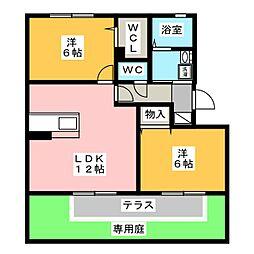 グランドキャッスルFUKUCHI B[1階]の間取り