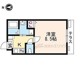 近鉄京都線 東寺駅 徒歩5分の賃貸マンション 1階1Kの間取り