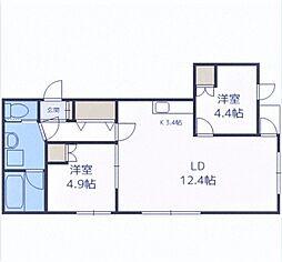 LUCY HOUSE 3階2LDKの間取り