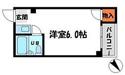 レジデンスMIDORI 4階ワンルームの間取り