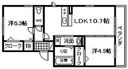 プラージュ sakigake[201号室]の間取り