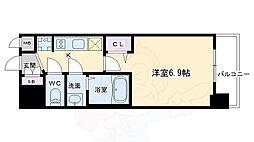 プレサンスTHE KYOTO 華苑 3階1Kの間取り