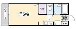 フォレスト青山 1階ワンルームの間取り