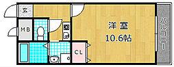 大阪府枚方市走谷1丁目の賃貸アパートの間取り
