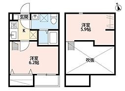 JR東北本線 仙台駅 徒歩15分の賃貸アパート 1階1Kの間取り
