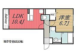 D-room B[2階]の間取り