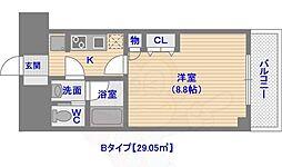 ドミール西新 6階1Kの間取り