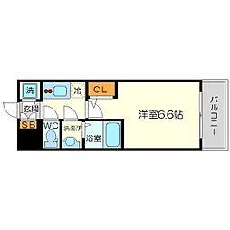 エスリード新大阪ヴェルデ 10階1Kの間取り
