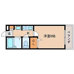 奈良県奈良市阪新屋町の賃貸アパートの間取り