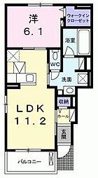愛知県名古屋市天白区池場2丁目の賃貸アパートの間取り