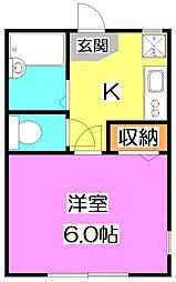 西武池袋線 練馬高野台駅 徒歩6分の賃貸アパート 1階1Kの間取り