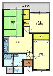 グリーンコートマンション[4階]の間取り