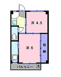 岡山県倉敷市真備町川辺の賃貸マンションの間取り