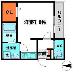 京阪本線 土居駅 徒歩8分の賃貸マンション 1階ワンルームの間取り