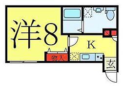 東武東上線 ときわ台駅 徒歩11分の賃貸マンション 2階1Kの間取り
