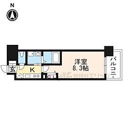 京都地下鉄東西線 太秦天神川駅 徒歩6分の賃貸マンション 4階1Kの間取り