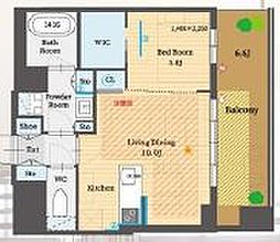 JR山手線 恵比寿駅 徒歩8分の賃貸マンション 7階1LDKの間取り
