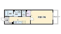 京福電気鉄道嵐山本線 山ノ内駅 徒歩3分の賃貸マンション 3階1Kの間取り