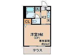 京都府京都市伏見区向島二ノ丸町の賃貸アパートの間取り