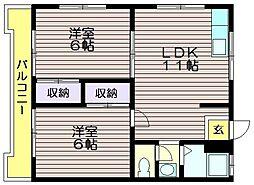 第16島田マンション[310号室]の間取り