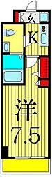 京成本線 お花茶屋駅 徒歩9分の賃貸マンション 2階1Kの間取り