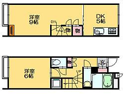 JR篠栗線 長者原駅 徒歩10分の賃貸アパート 2階1LDKの間取り