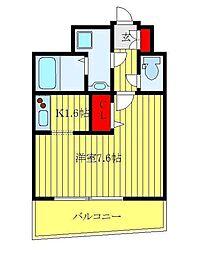 フェルクルール田端ルネサンスコート 2階ワンルームの間取り
