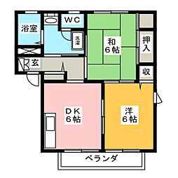 エスポワール藤A[1階]の間取り