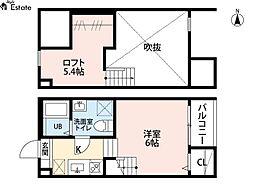 名古屋市営東山線 本陣駅 徒歩7分の賃貸アパート 2階1SKの間取り