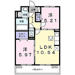 JR片町線(学研都市線) 鴻池新田駅 徒歩13分の賃貸アパート 1階2LDKの間取り