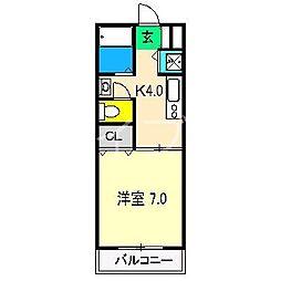 コーポ・スライビングIII[3階]の間取り