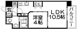 Osaka Metro四つ橋線 肥後橋駅 徒歩3分の賃貸マンション 3階1LDKの間取り