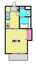 JR中央本線 三鷹駅 徒歩3分の賃貸アパート 2階1DKの間取り