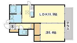 シャーメゾンゴンロク[1階]の間取り