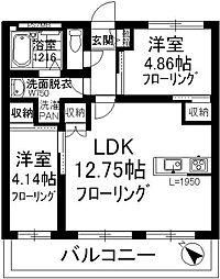 福岡県大野城市白木原2丁目の賃貸マンションの間取り