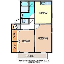 エスポワール小池B棟[1階]の間取り