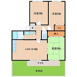 フォブール牟田山[B101号室]の間取り