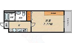 Osaka Metro今里筋線 蒲生四丁目駅 徒歩3分の賃貸マンション 7階1Kの間取り