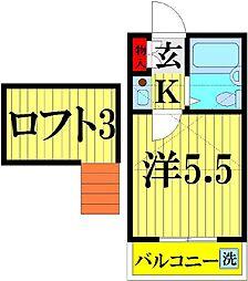ホーユーハウス大沢[205号室]の間取り