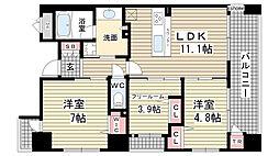 兵庫県神戸市灘区桜口町2丁目の賃貸マンションの間取り