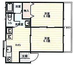 レジデンス愛31 1階2DKの間取り