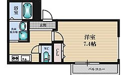 フジパレス西淡路3番館 3階1Kの間取り